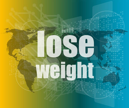 social concept: lose weight words on digital screen, 3d vector quotation marks with thin line speech bubble. concept of citation, info, testimonials, notice, textbox. flat style Illustration