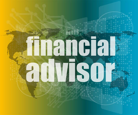 advisor: financial advisor word on digital screen, mission control interface hi technology vector quotation marks with thin line speech bubble. concept of citation, info, testimonials, notice, textbox. flat
