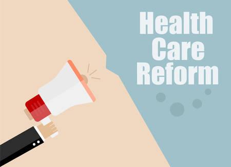 health reform: health care reform. Megaphone Flat design vector business illustration concept Digital marketing business man holding megaphone for website and promotion banners. Illustration