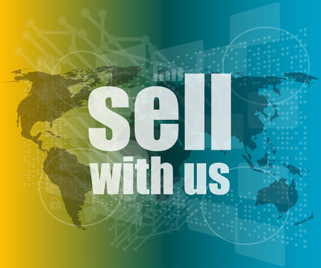 sell shares: Sell with us word on digital screenvector quotation marks with thin line speech bubble. concept of citation, info, testimonials, notice, textbox. flat style trend modern logo design