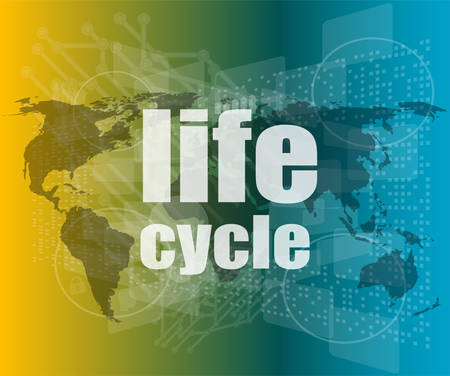 new generation: life cycle words on digital touch screen vector quotation marks with thin line speech bubble. concept of citation, info, testimonials, notice, textbox. flat style Illustration