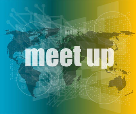 meet up: meet up words on digital touch screen, business concept vector quotation marks with thin line speech bubble. concept of citation, info, testimonials, notice, textbox. flat style design