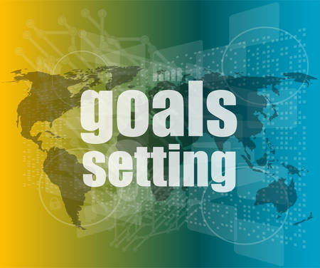goal setting: Goal setting concept - business touching screen vector quotation marks with thin line speech bubble. concept of citation, info, testimonials, notice, textbox.