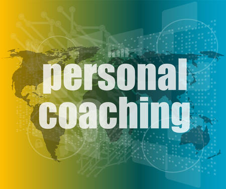 account executive: word personal coaching on digital screen 3d, business concept vector quotation marks with thin line speech bubble. concept of citation, info, testimonials, notice, textbox. flat style trend design