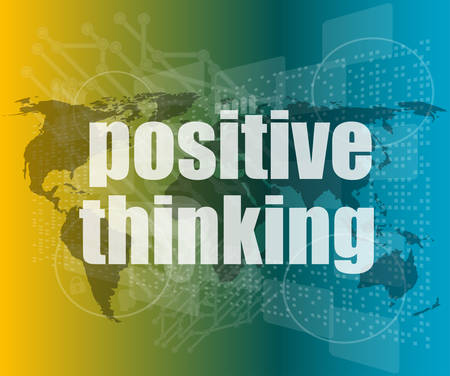 feasible: positive thinking on screen - motivation business concept vector quotation marks with thin line speech bubble. concept of citation, info, testimonials, notice, textbox. flat style