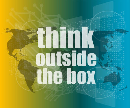 think outside the box words on digital touch screen vector quotation marks with thin line speech bubble. concept of citation, info, testimonials, notice, textbox flat style trend design Illustration