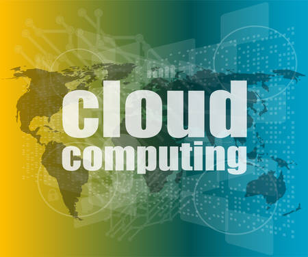 cloud computing word on touch screen, modern virtual technology background vector quotation marks with thin line speech bubble. Illustration