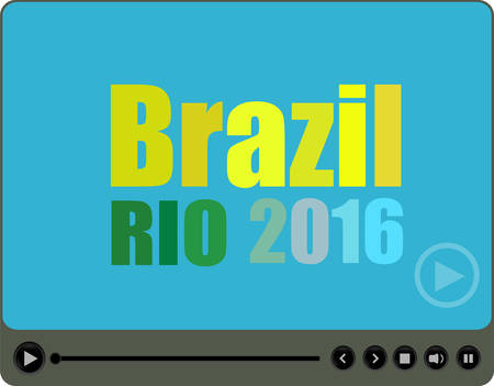 Vector Brazil Rio 2016 words with a play sign on media player