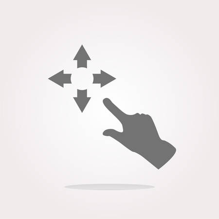 Fullscreen sign icon and people hand. Arrows symbol. Icon for App . Vector illustration