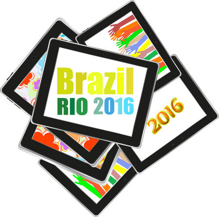 Vector Brazil Rio 2016 Summer Games. tablet pc set. Flat design graphic clip art abstract illustration. Illustration