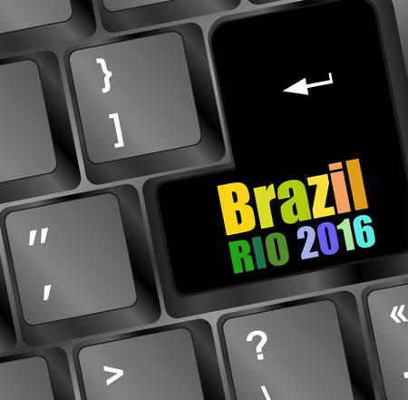 key words art: laptop computer wireless keyboard top view with keys, vector illustration. Brazil Rio 2016 words on it