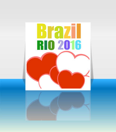 janeiro: Background colors with the inscription Brazil Rio 2016. Vector illustration