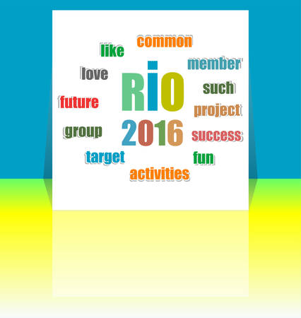 brazilian flag: Sign symbol Rio  games 2016 in colors of the Brazilian flag. Brazil Carnival. Vector illustration