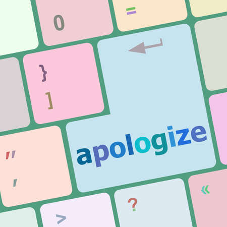 apologize: keyboard keys with enter button, apologize word on it Stock Photo