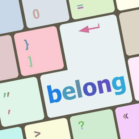 belong: belong word on keyboard key, notebook computer button