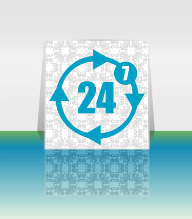 availability: button with twenty four hours by seven days icon
