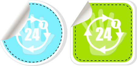 availability: button with twenty four hours by seven days icon, isolated on white Stock Photo