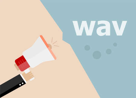 wav: Wav. Hand holding a megaphone. flat style