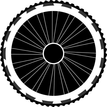 silhouette of a bicycle wheel isolated on white Stock Photo