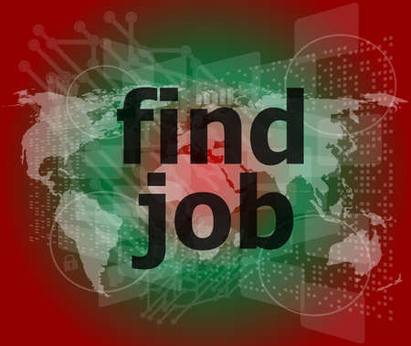 find jobs on digital touch screen, social concept Stock Photo