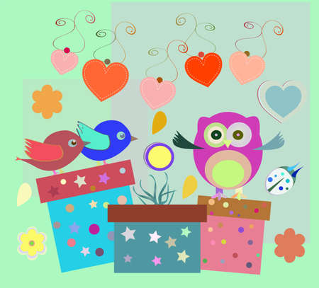 birthday party elements with cute owls, birds, hearts and flowers Stock Photo