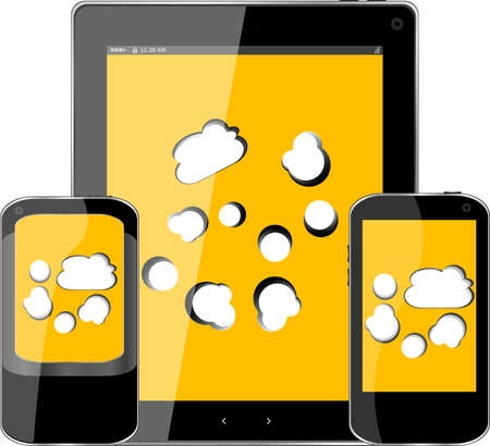 mobile smart phone and digital tablet pc with cloud on the screen Stock Photo