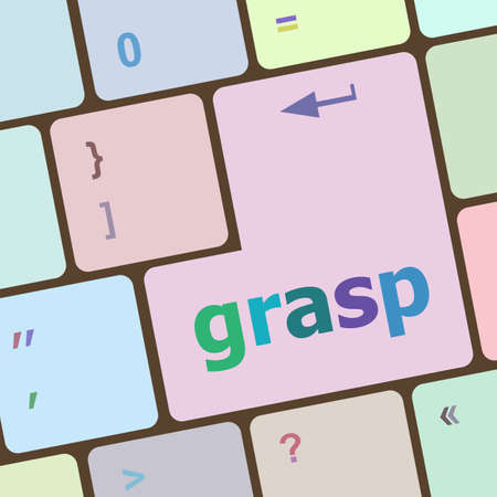 grasp: Computer keyboard button with grasp button