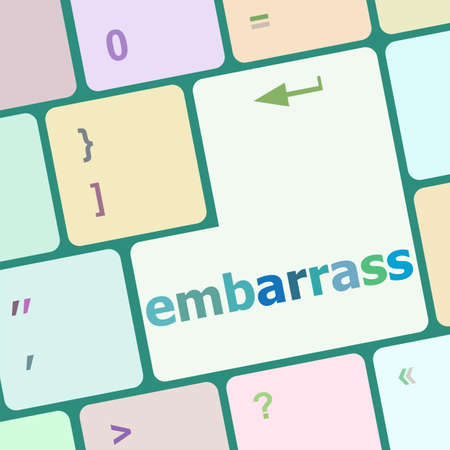 rectify: The word embarrass on a computer keyboard