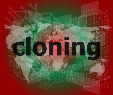 clonacion: clonación palabra, fondos de pantalla táctil con botones transparentes. concepto de internet moderno