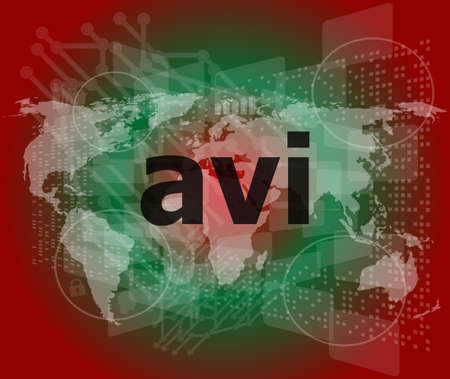 mpg: digital concept: avi word on digital screen Stock Photo