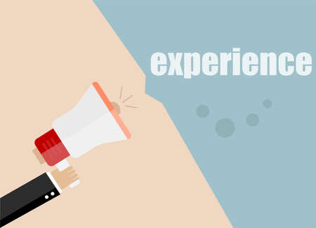vacancy: flat design business concept. experience. Digital marketing business man holding megaphone for website and promotion banners.