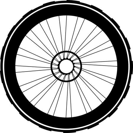silhouette of a bicycle wheel. bike wheels with tyre and spokes. isolated on white