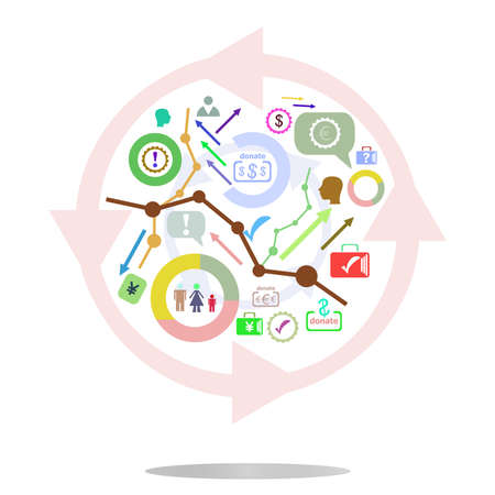 indexing: thin line icon with flat design element of business chart, success corporation stats, corporate data, market analysis, pie graph, development prospects. Modern style