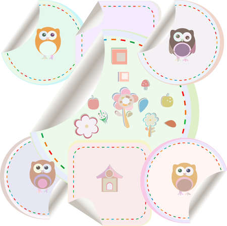 twit: Set of doodle owls for funny decoration, such a logo. stickers set