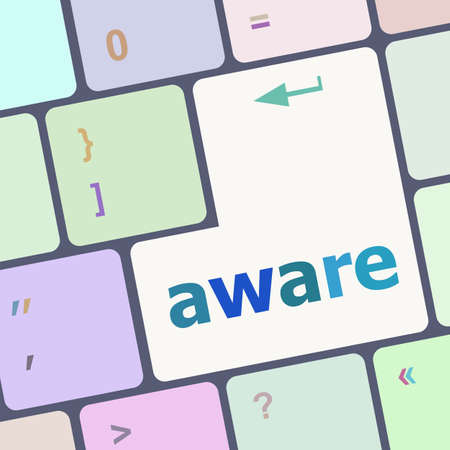 aware: aware word on keyboard key, notebook computer