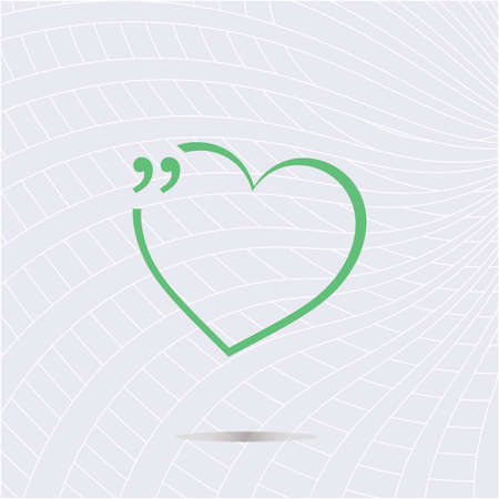 mention: Quotation Mark Speech Bubble with love heart. Quote sign icon. Stock Photo