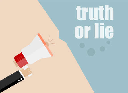 to lie: Flat design business concept Digital marketing business man holding megaphone for website and promotion banners. Truth or lie.