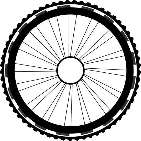 spokes: silhouette of a bicycle wheel. bike wheels with tyre and spokes. isolated on white