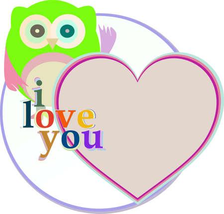 caes: búho divertido lindo con el corazón del amor. Foto de archivo