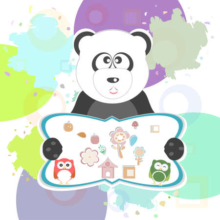 birthday party elements with cute owls and panda