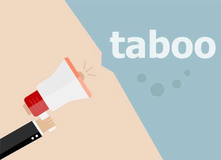 taboo: taboo. Hand holding a megaphone. flat style Stock Photo