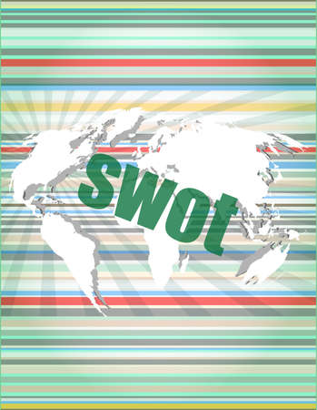 advanced computing: swot word on touch screen, modern virtual technology background