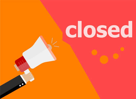 closed community: closed. Hand holding a megaphone. flat style