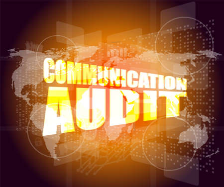 account executive: Management concept: communication audit words on digital screen Stock Photo