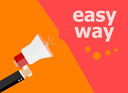 now hiring: flat design business concept. easy way. Digital marketing business man holding megaphone for website and promotion banners.