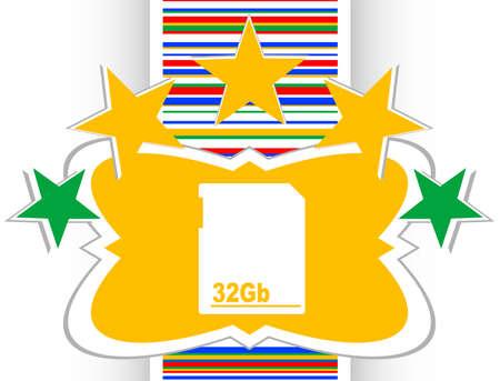 flash memory card internet web button (icon) Stock Photo