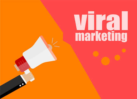 now hiring: flat design business concept. viral marketing. Digital marketing business man holding megaphone for website and promotion banners. Stock Photo