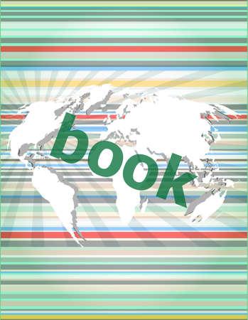 Boekwoord op digitaal aanrakingsscherm. concept van citaat, info, getuigenissen, kennisgeving, tekstvak. Stockfoto - 73584149