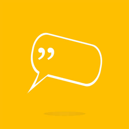 testimonials: Quotation Mark Speech Bubble. Quote sign icon. Abstract background.