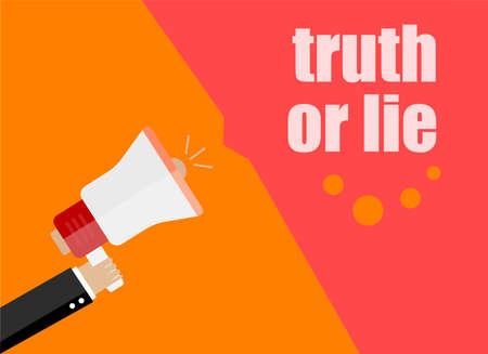 Truth or lie. Flat design business concept Digital marketing business man holding megaphone for website and promotion banners.